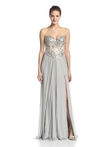 Terani Couture Womens Strapless Lace Embellished Gown
