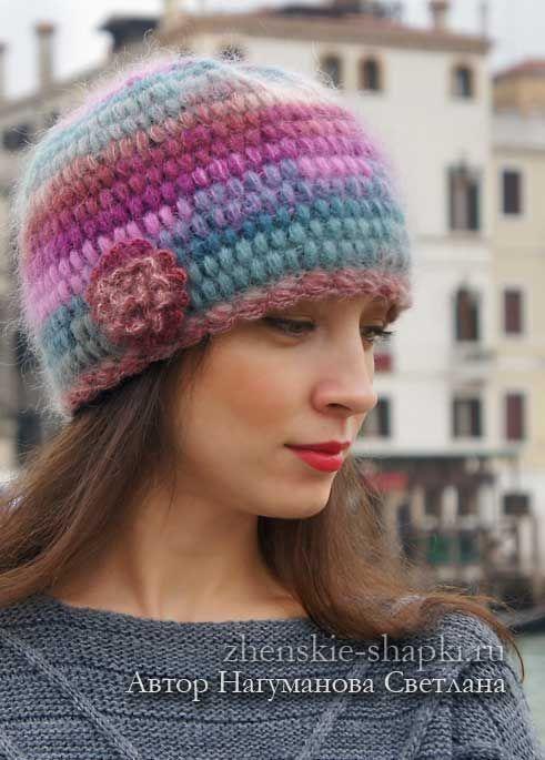 Вязаная шапка из мохера схемы | Вязаные шапки, Вязание и ...