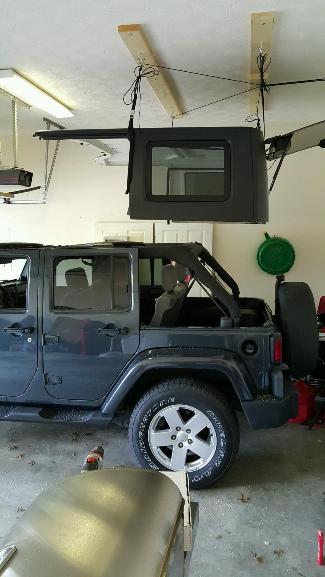 Harken Jeep Wrangler Hoister Garage Storage 4 Point Lift System 7803 Jeep Jeep Wrangler Jeep Garage Jeep Tops