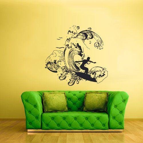 Wall Vinyl Sticker Decals Decor Art Bedroom Design Mural Surfer Surf ...