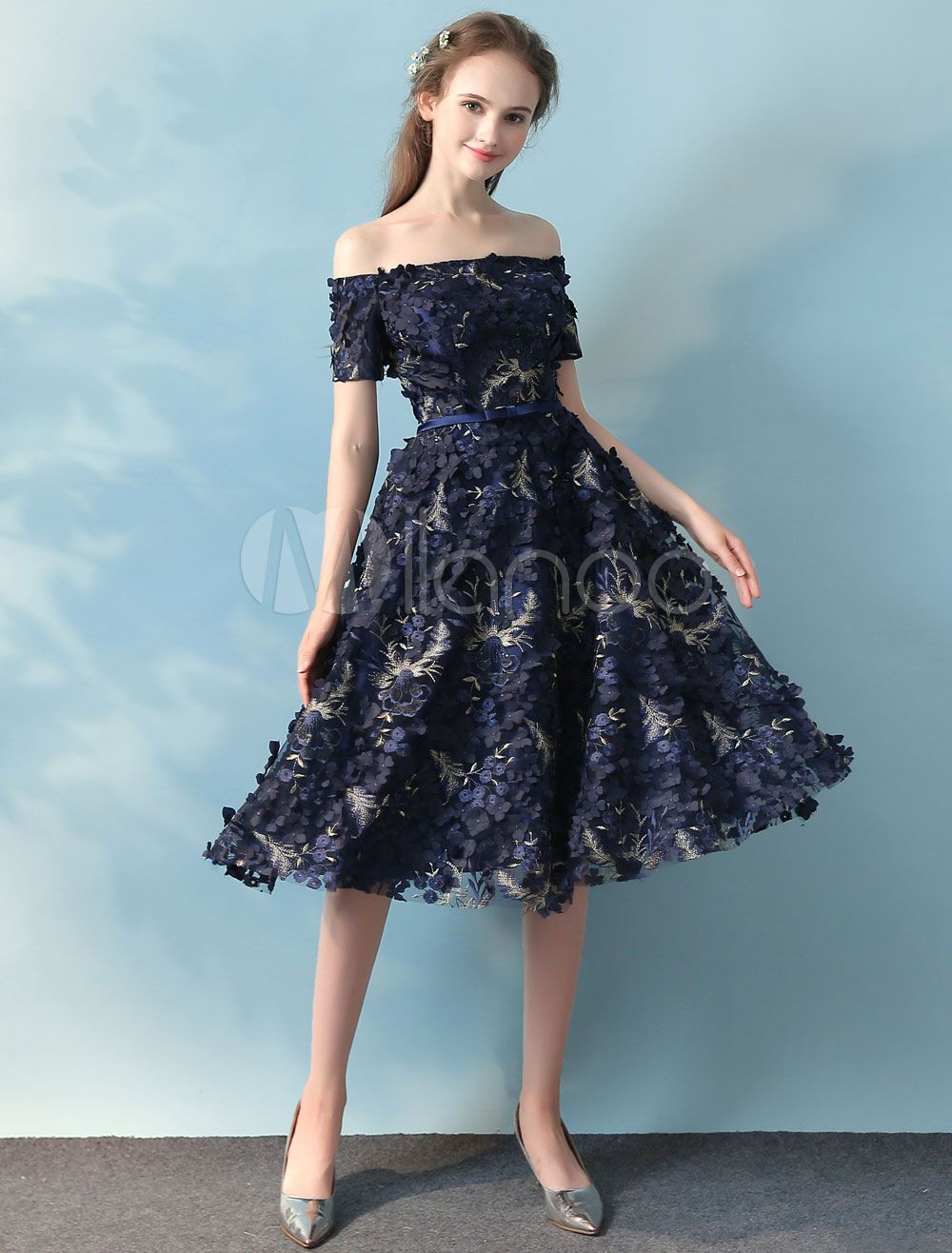 Lace Homecoming Dress Dark Navy Off The Shoulder Prom Dresses Flower ...