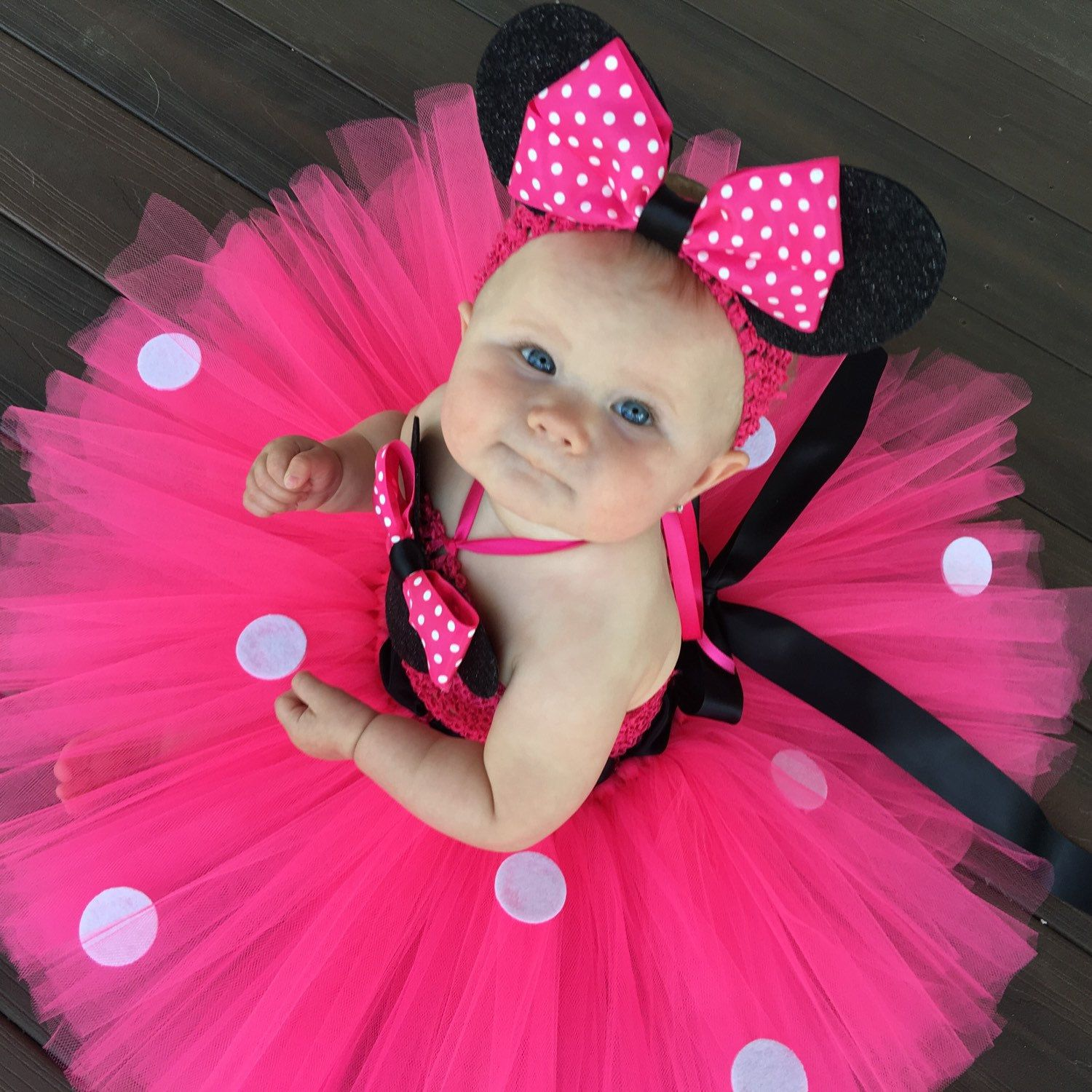 a3e81abc8 Hot Pink Minnie Mouse inspired costume dress with matching headband. This  set can be done in red