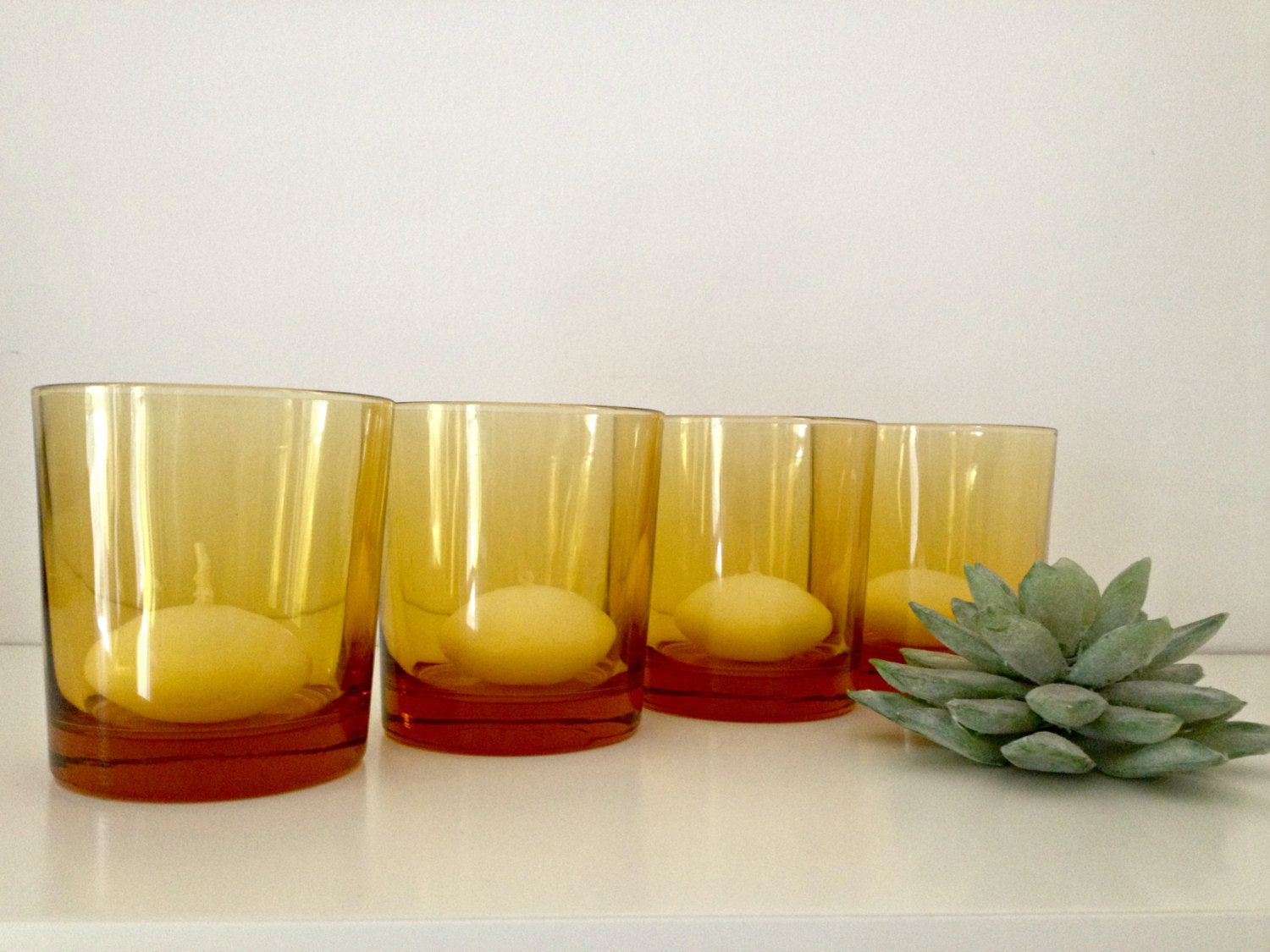 retro set of 4 amber glass tumblers/vases/candle holders by rosyrandom on Etsy