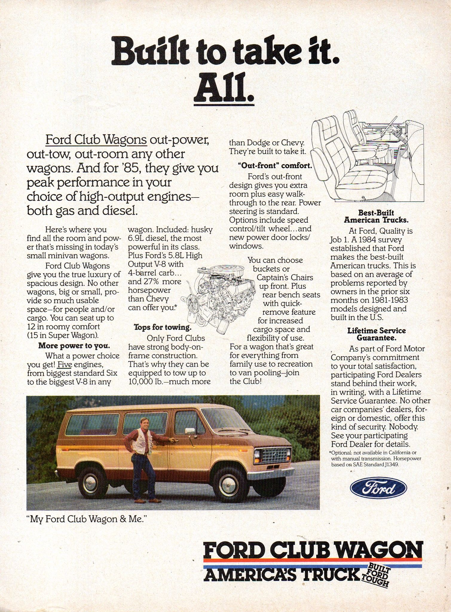 1985 Ford Club Wagon Van Page 1 Usa Original Magazine