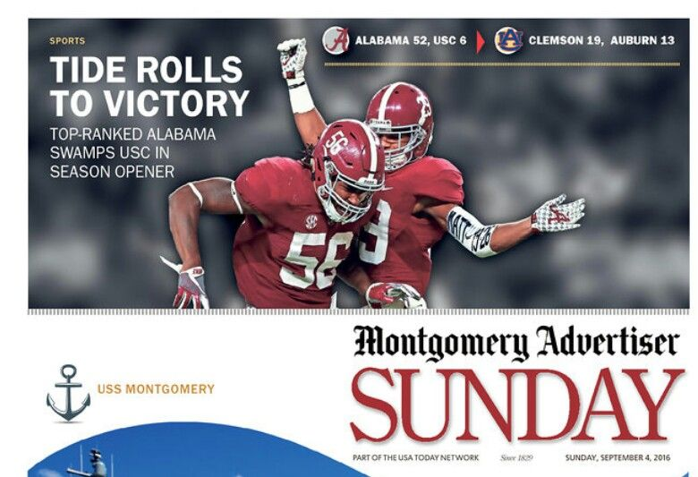 Montgomery Advertiser Front Page - Bama rolls 52 - 6 in the 2016 opener vs USC. in Arlington Texas. September 3rd 2016. #Alabama #RollTide #Bama #BuiltByBama #RTR #CrimsonTide #RammerJammer #USCvsBAMA