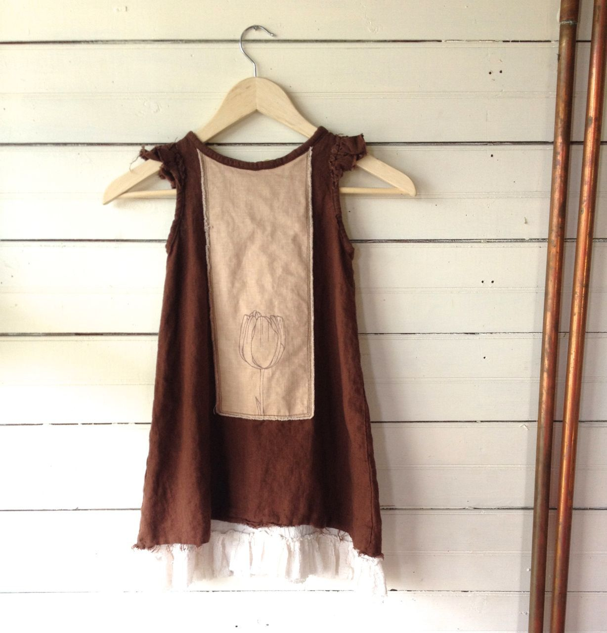 One of a Kind Girl's Rustic Linen Dress - size 4T by TwinkleVT on Etsy