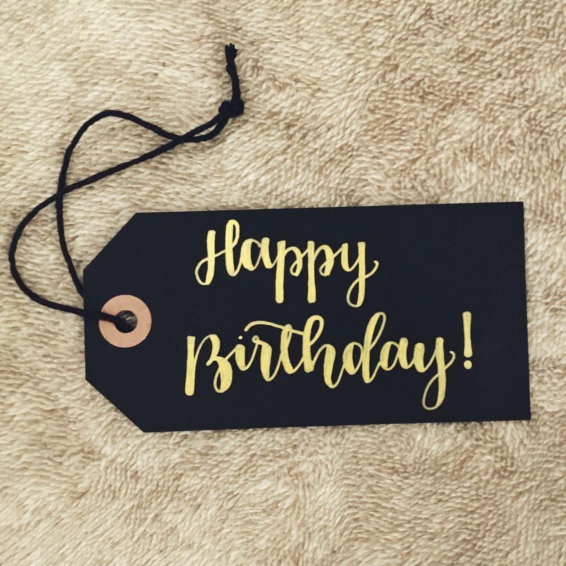 Happy Birthday calligraphy tag Happy birthday