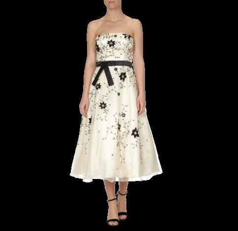 NIENTE Abendkleid mit Blüten-Stickerei - Full Length Front ...