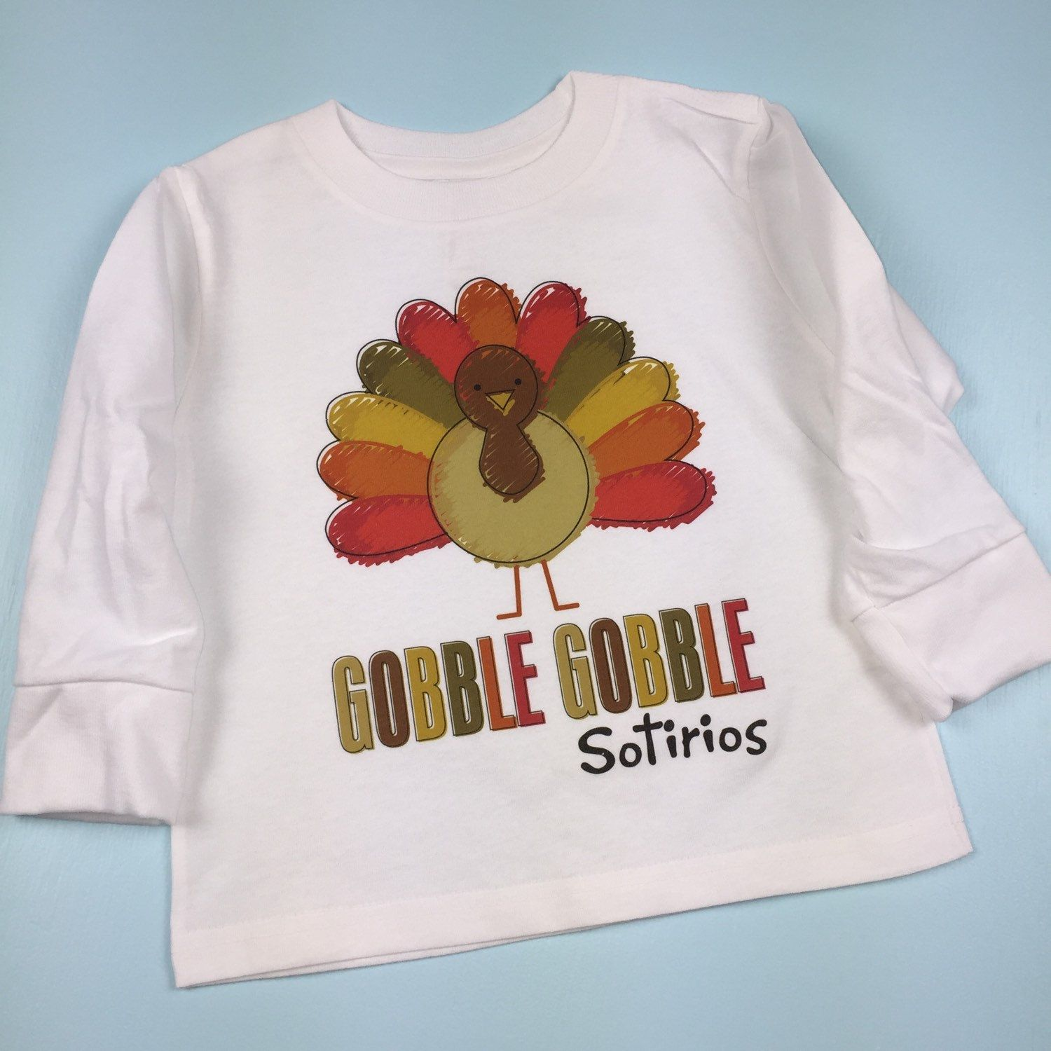 Cute personalized Thanksgiving outfit t-shirt.