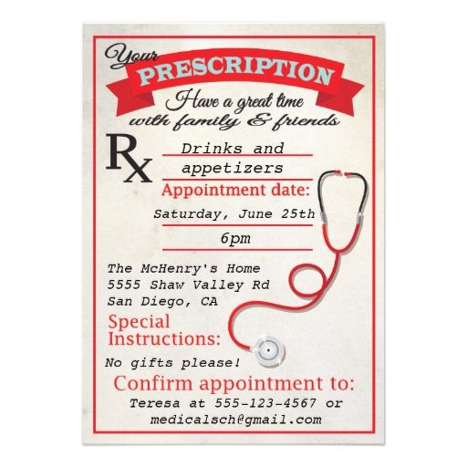 Medical School Graduation Prescription Invitation Nursing