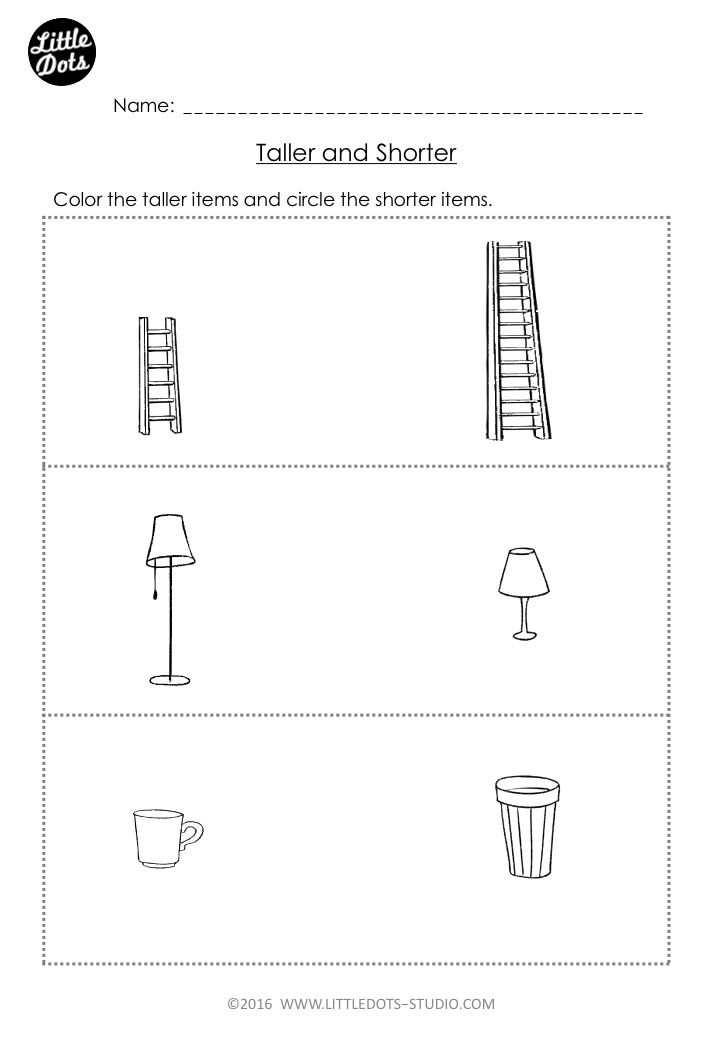 Free prek measurement worksheet on taller and shorter