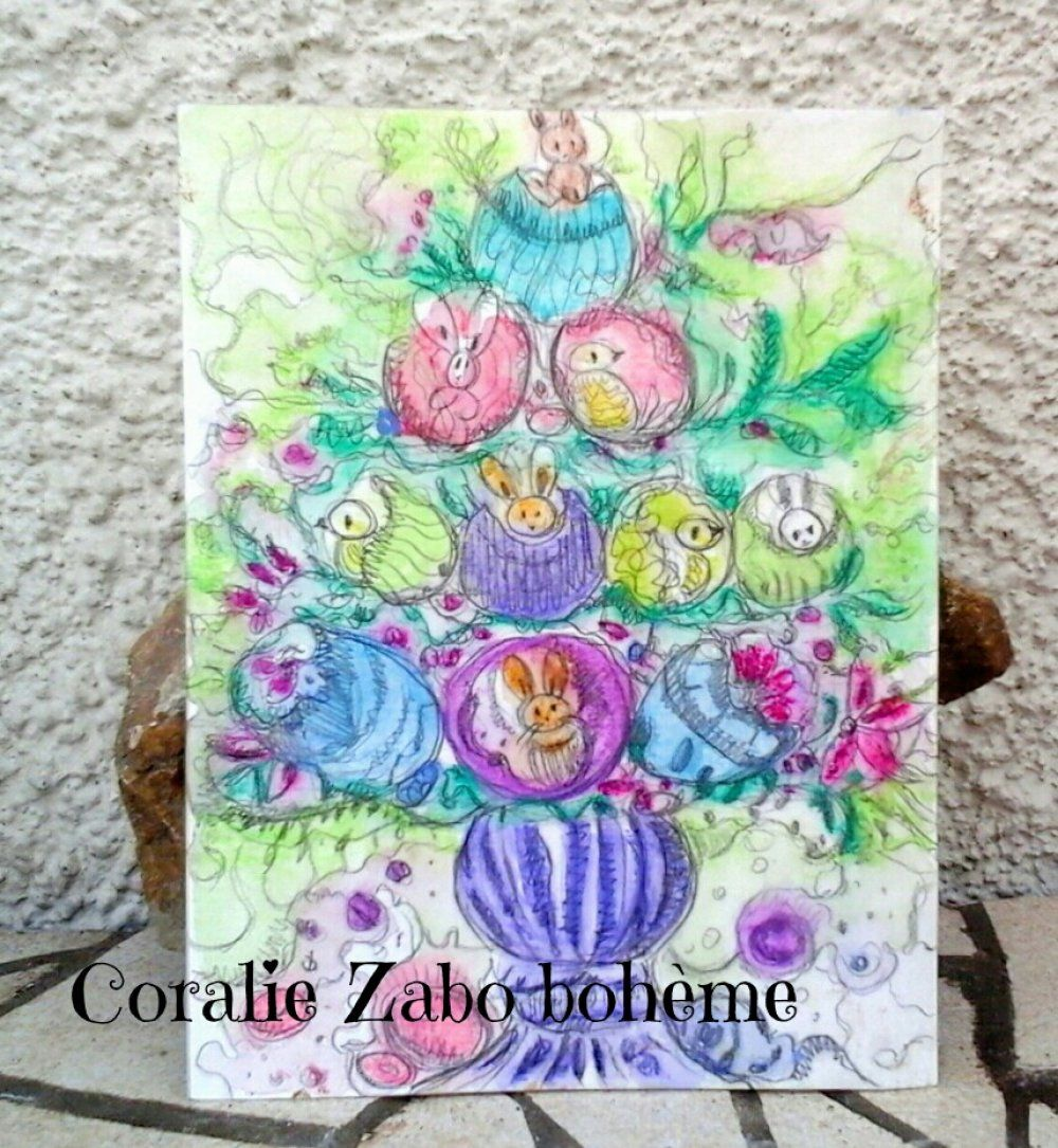 Paques Carte Peinte A La Main Carte Aquarelle Originale