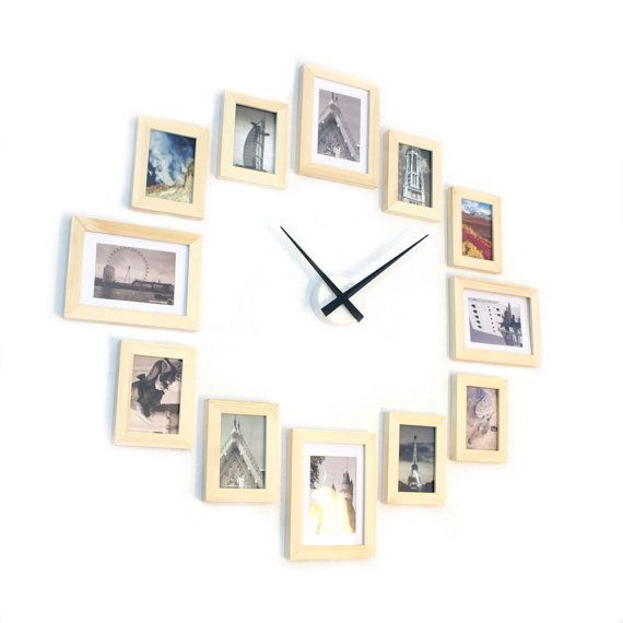 Photo Picture Frame Wall Clock - Natural 12 | Picture Frames Collage ...