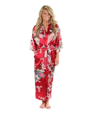 303cb2bed3 Brand New Black Women Silk Kimono Robes Long Sexy Nightgown Vintage Printed Night  Gown Flower Plus Size S M L XL XXL XXXL A-045. Hot Sale ...