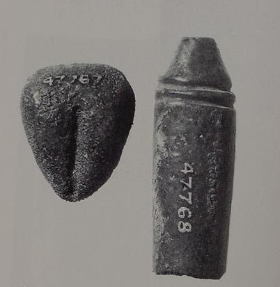 faience votive vulva and phallus found at a Hathor shrine at Deir el-Bahri in Egypt. Hathor was honored by the Egyptians as a goddess of procreation. Ashmolean Museum.