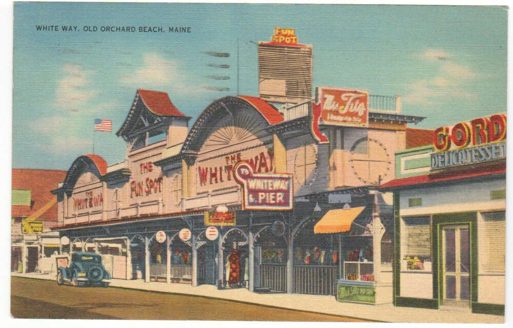 Old Orchard Beach Me The White Way On Boardwalk Pier Linen Postcard 1941 Vintage Old Orchard Beach Postcard Vintage Postcards