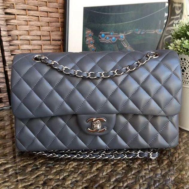 Chanel Lambskin Medium Classic Flap Bag A1112 Gray  6d07e5dac6248