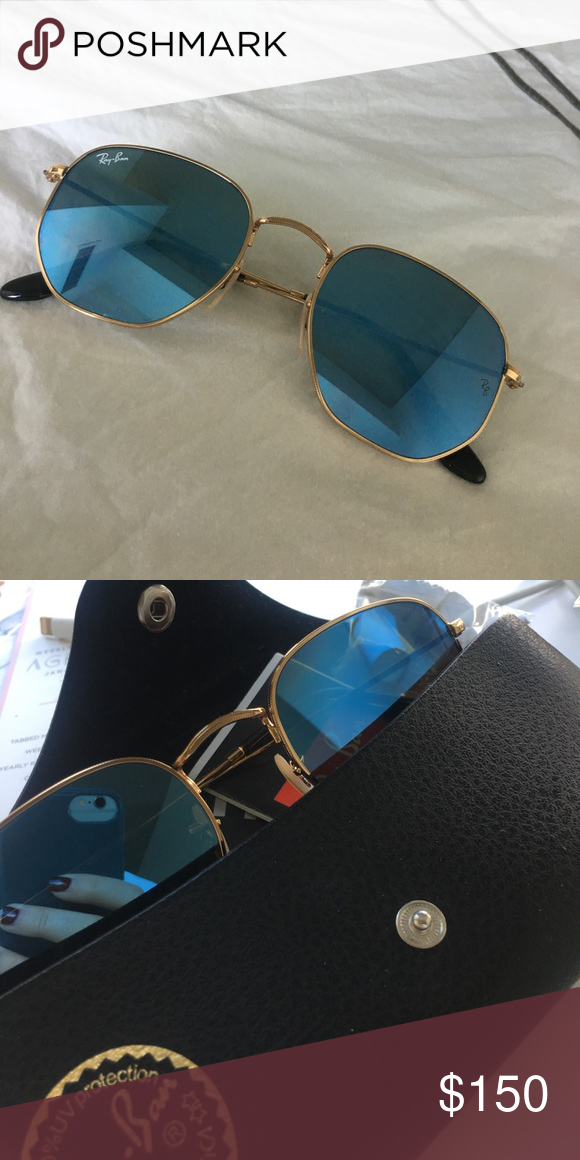 5dc5edc2fdaac Ray ban hexagonal flat lens Mirrored blue lenses with gold frame Ray-Ban  Accessories Sunglasses