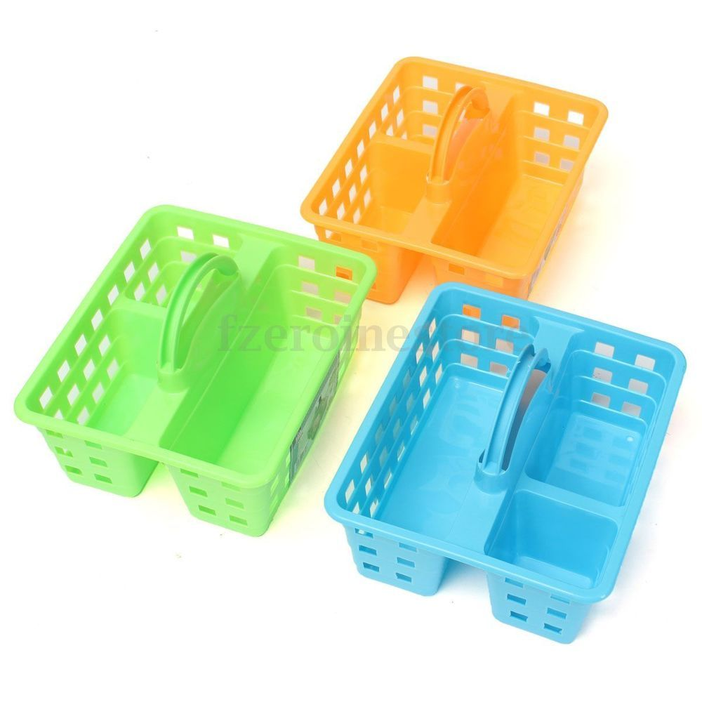 PRO Plastic Storage Basket & Handle Cleaning Caddy Bathroom Kitchen ...
