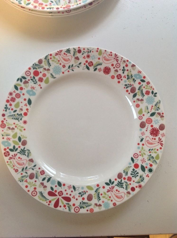 Martha Stewart Collection 11 Dinner Plate - White w/holiday rim motif & Martha Stewart Collection (4) 11 3/8