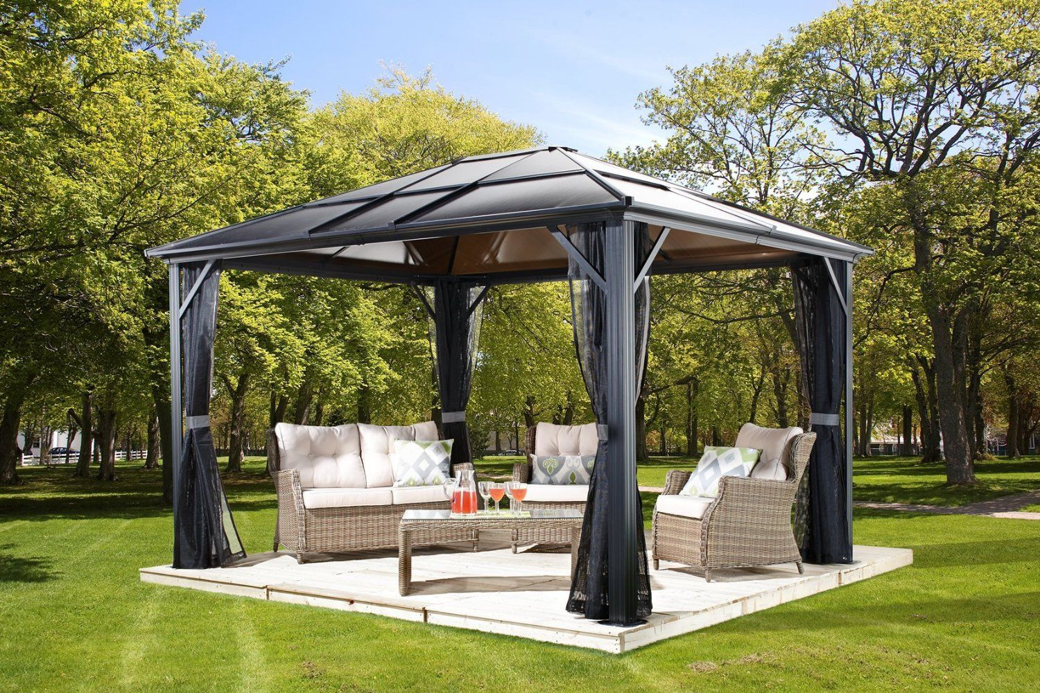 Perfect List Of Outdoor Patio Gazebos   Sojag Meridien Hard Top Sun Shelter, By  Charcoal. Get A Gazebo That Will Last In Your Outdoor Space For Years To  Come.