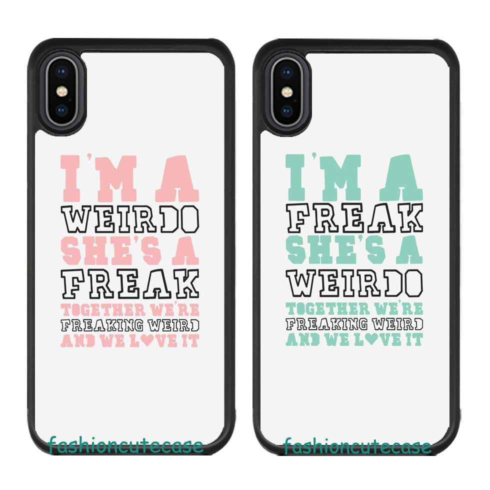 Weirdo And Freak Black Matching Best Friends Couple Case Cover For Iphone 7 8 X Unbrandedgeneric Friends Phone Case Matching Phone Cases Iphone Phone Cases