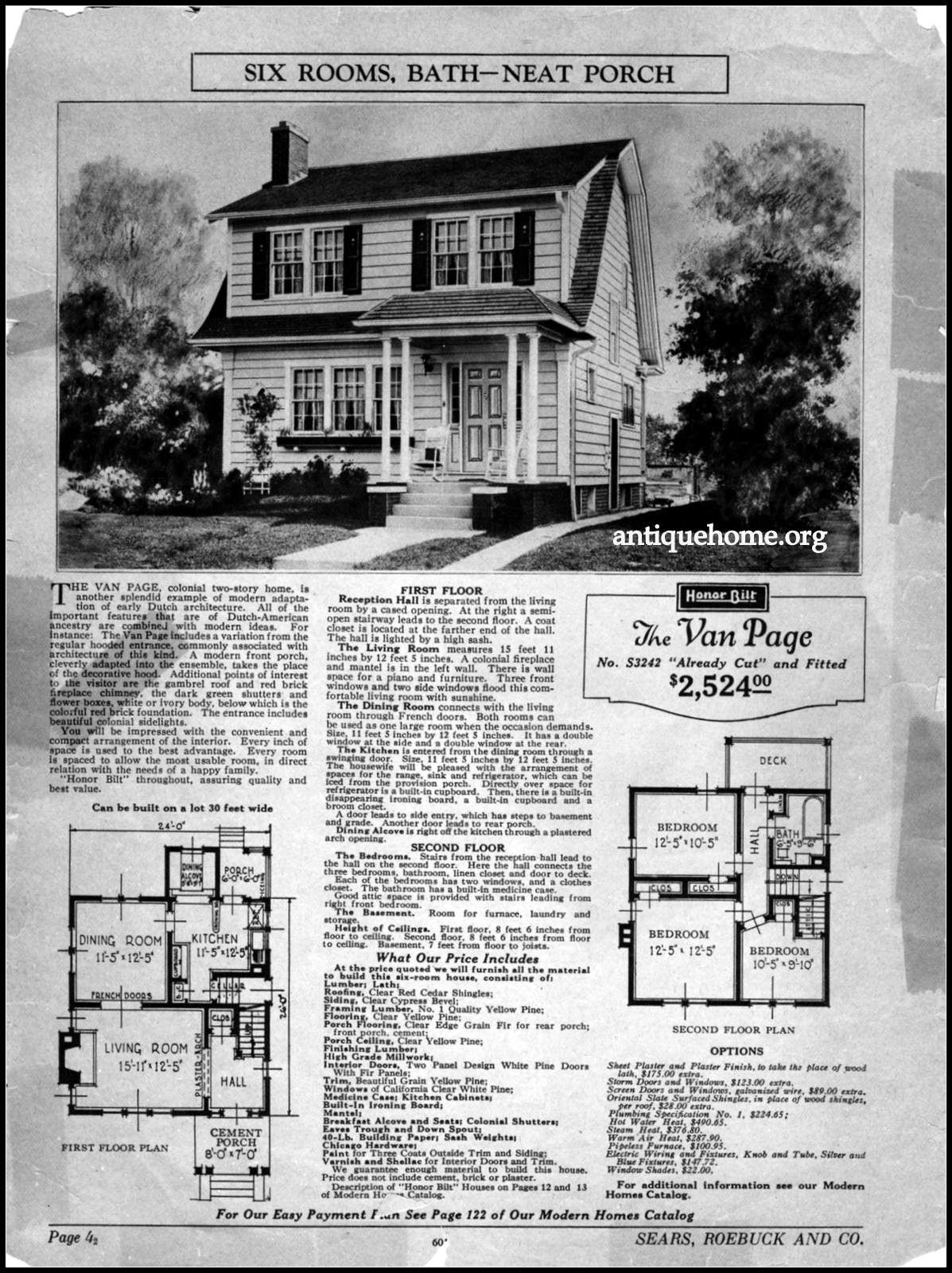 Sears Honor Bilt House The Van Page Vintage House Plans Sears Kit Homes