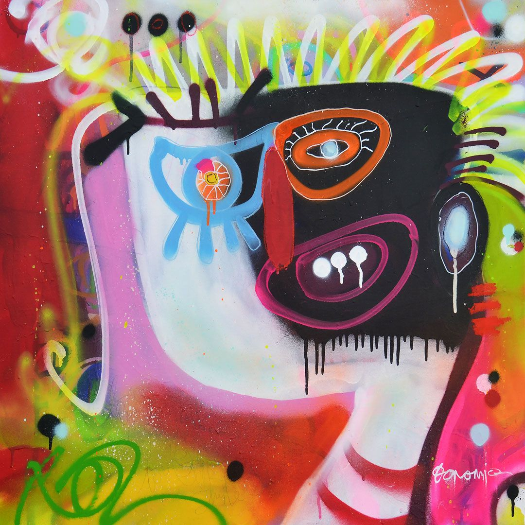 """black and white smile80 x 80 cm 