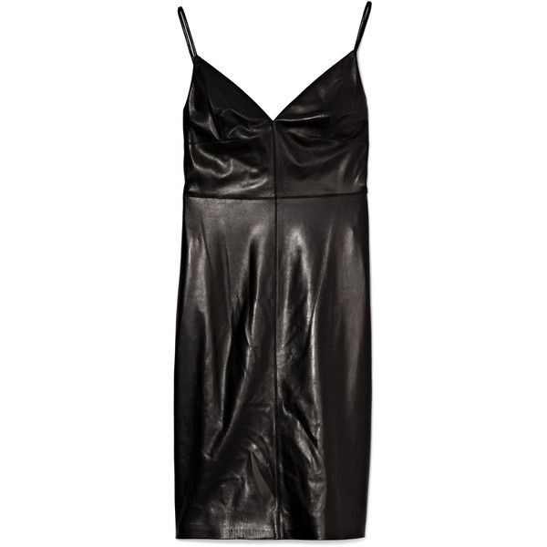 Valentino Black Leather Camisole Strap Dress ($3,990) ❤ liked on Polyvore