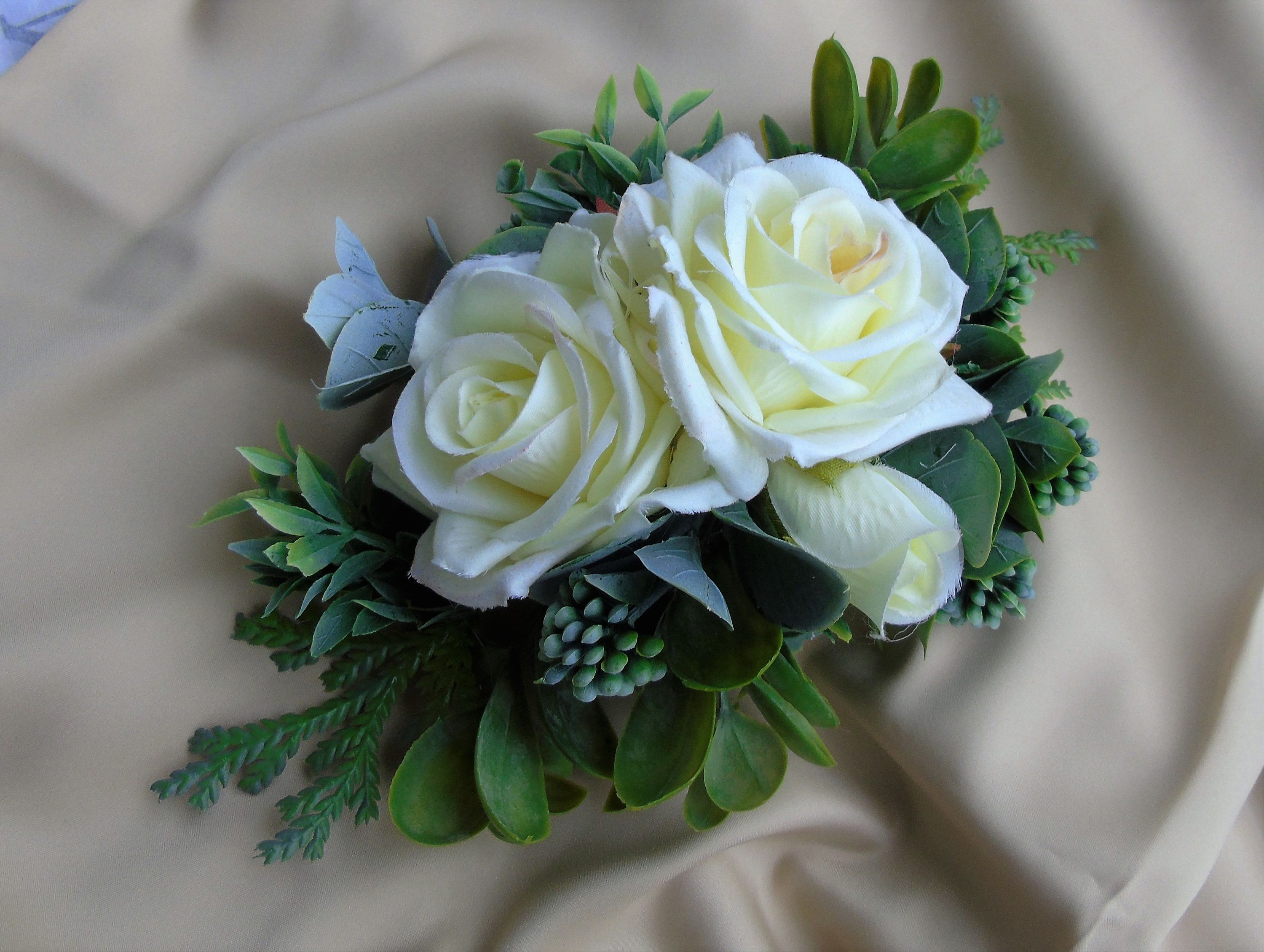 Large floral wedding cake topper ivory roses greenery
