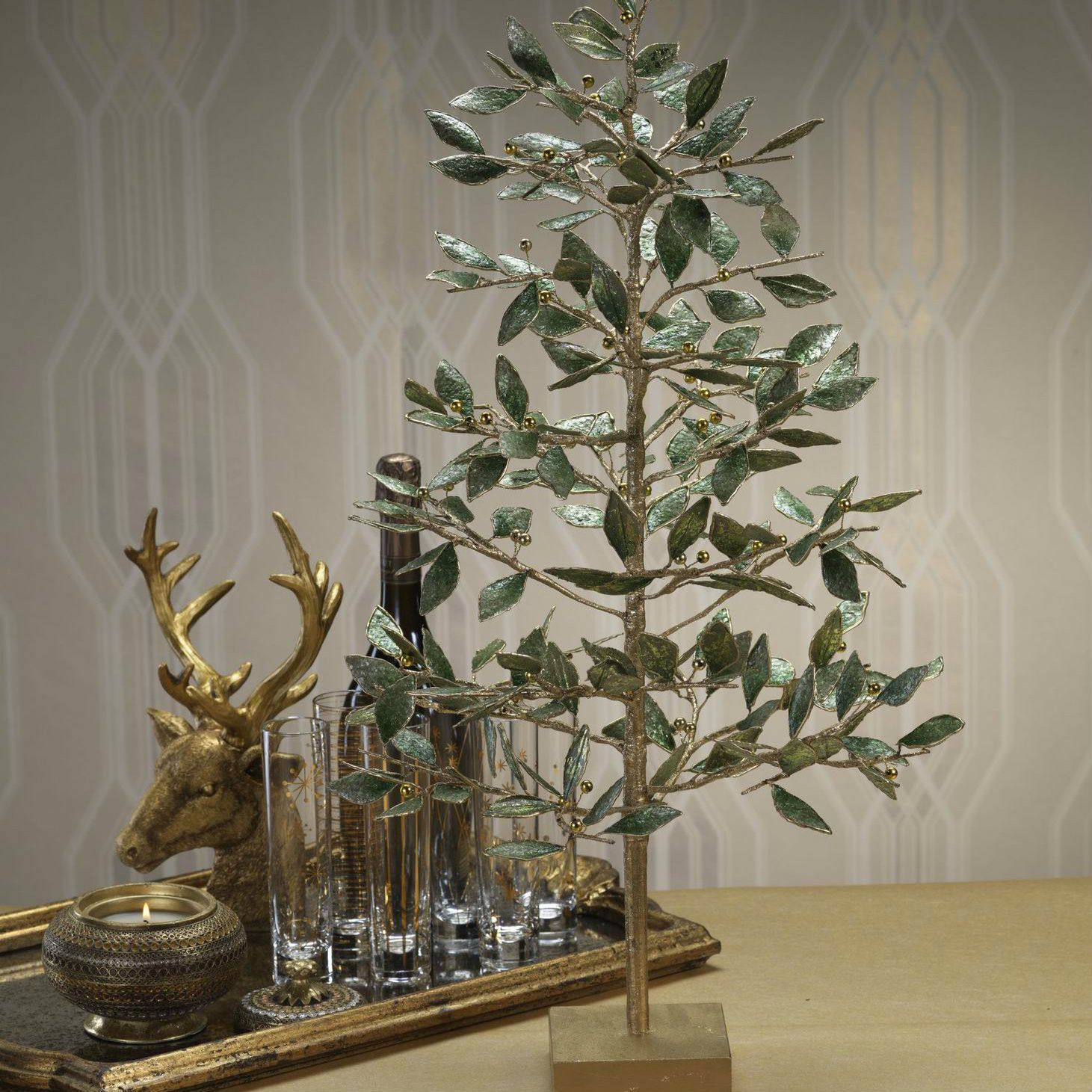 Golden Metal Tree with Green Leaves