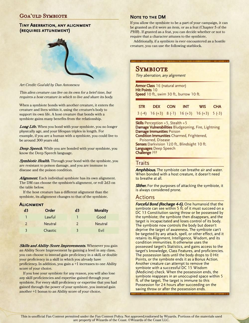 5e Goa Uld Symbiote Dndhomebrew Dungeons And Dragons Rules Dnd Monsters Dungeons And Dragons Homebrew