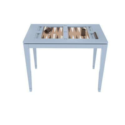 Oomph 39″ Backgammon Table Table Top Color: Navy and White, Color: Hinting Blue