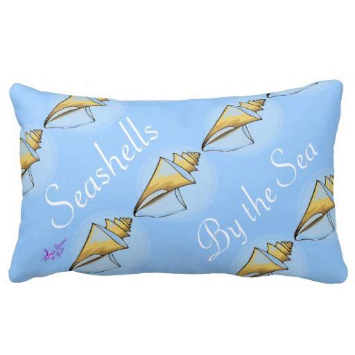 Seashells by the Sea Lumbar Decorative Pillow by MoonDeams Music #pillow #throwpillow #seashells #beach #blue #home #decorative #pretty #moondreamsmusic #beachcollection