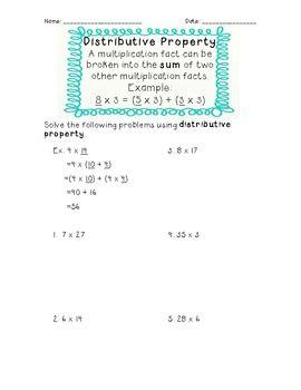 3rd Grade Common Core Distributive Property Worksheet Distributive Property Third Grade Worksheets Math Properties