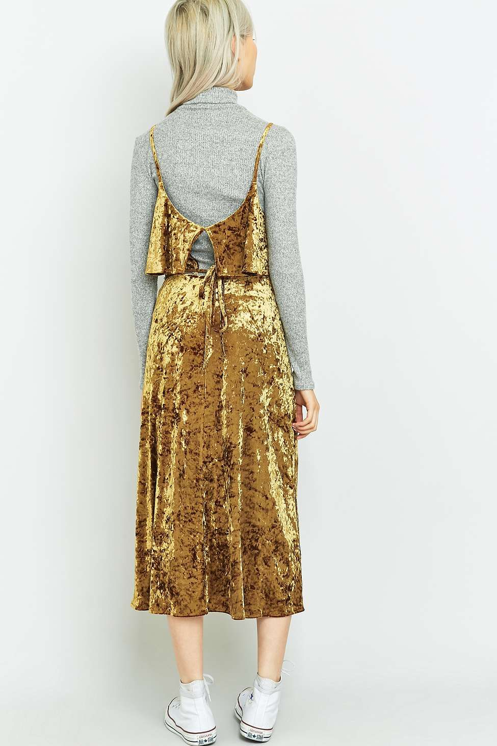 Pins And Needles Clothing Pins & Needles Ruffle Gold Velvet Midi Dress