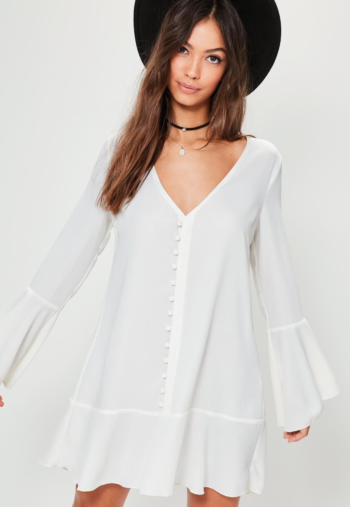 6bb65c80971 Missguided - White Button Down Frill Hem Shirt Dress