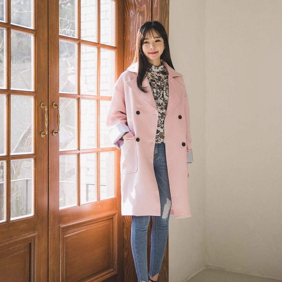 #envylook Striped Cuffs Double-Breasted Coat #koreanfashion #koreanstyle #kfashion #kstyle #stylish #fashionista #fashioninspo #fashioninspiration #inspirations #ootd #streetfashion #streetstyle #fashion #trend #style