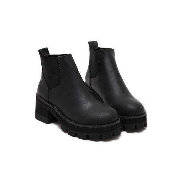 71765ed0e8 SheIn(sheinside) Black Chunky Block Heel Velvet Elastic Ankle Boots (650  ZAR)
