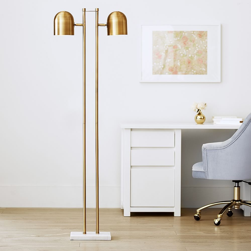 Gold Double Dome Floor Lamp In 2020 Floor Lamp Cool