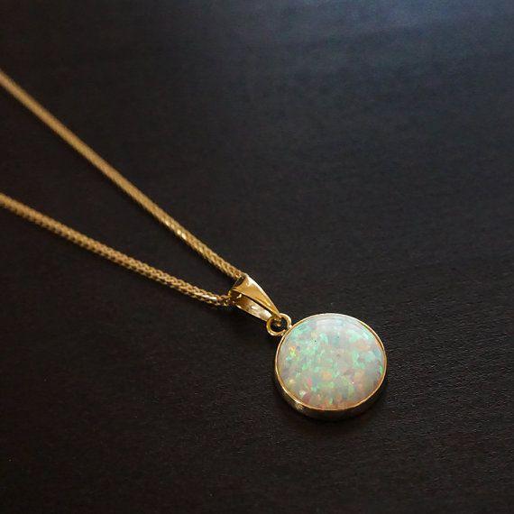 Opal Necklace Solid 14k Yellow Gold Pendant White Opal Etsy In 2021 Opal Jewelry Gold Opal Pendant Blue Opal
