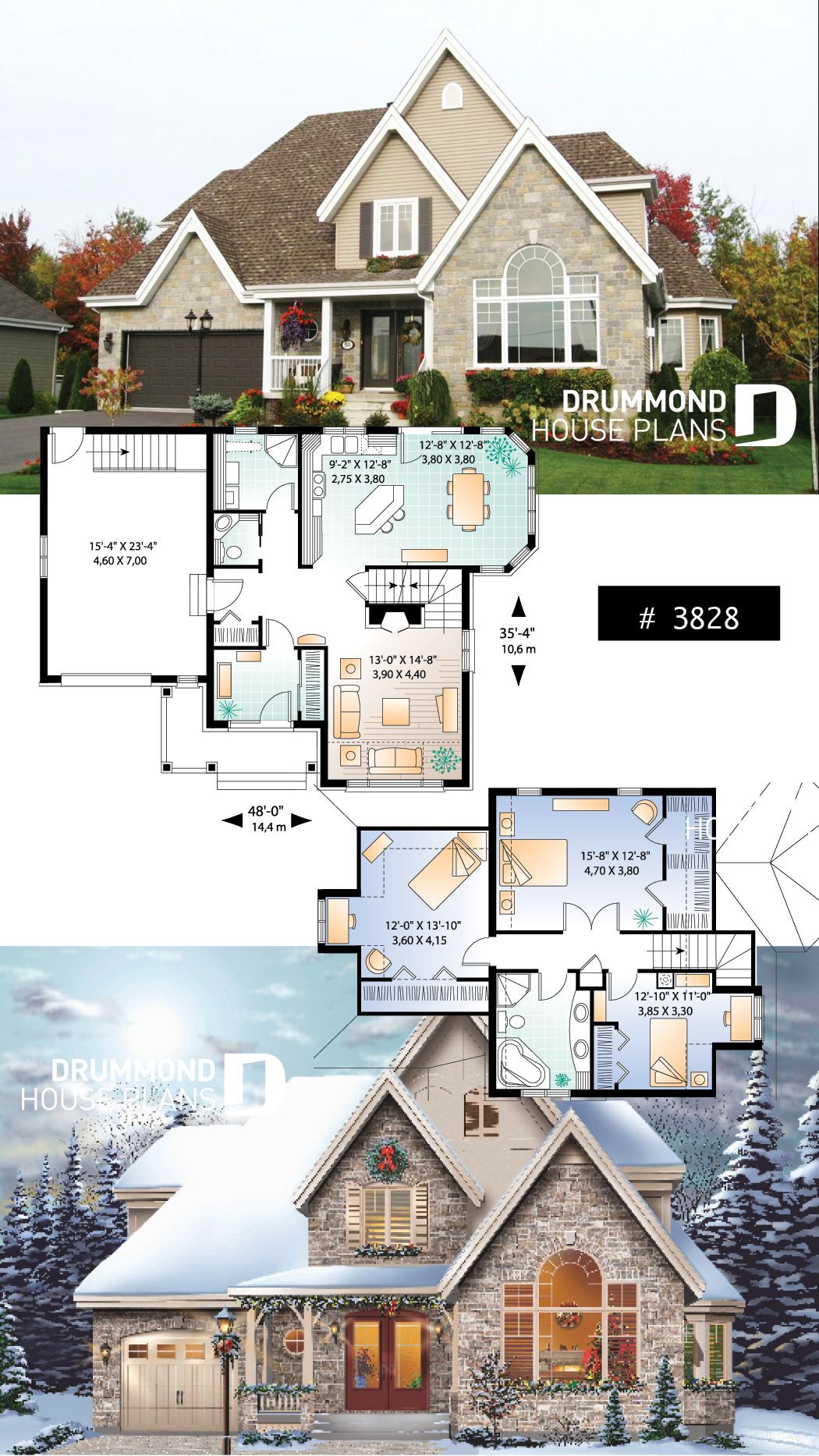Discover the plan 3828 The Quarry 1 which will please you for its 3 bedrooms and for its Country styles