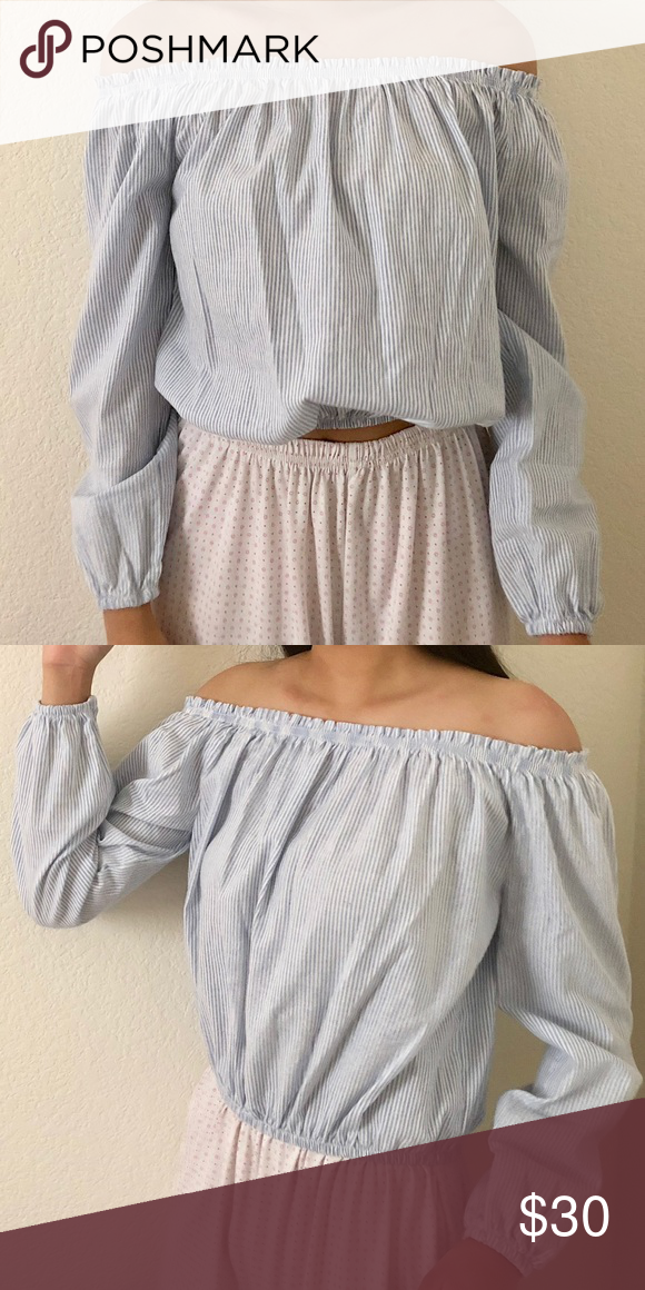 12893f2badf brandy melville blue striped maura top off the shoulder new with tags fits  xs/s no trades Brandy Melville Tops Blouses