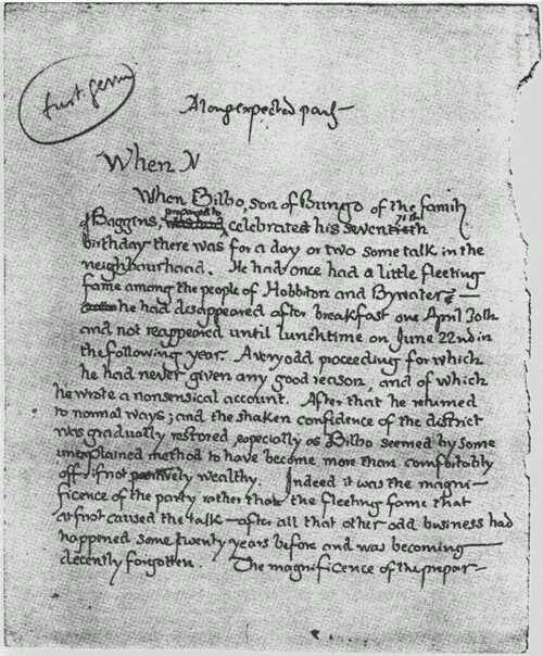J R R Tolkien S Original First Page For Lord Of The Rings 1937