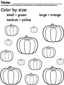 Pumpkin Coloring by Size #pumpkincraftspreschool