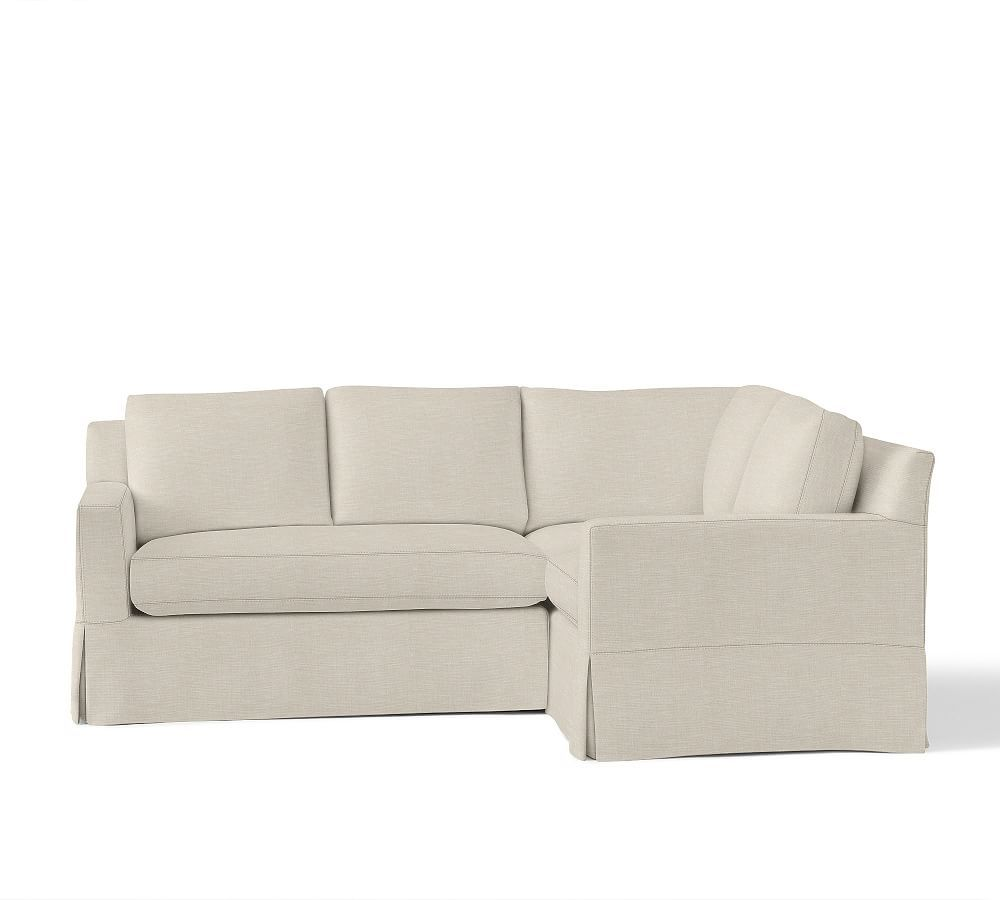 York Square Arm Slipcovered 3 Piece Corner Sectional With Bench Cushion Sectional Sofa Slipcovers Sectional Slipcover Sectional Sofas Living Room