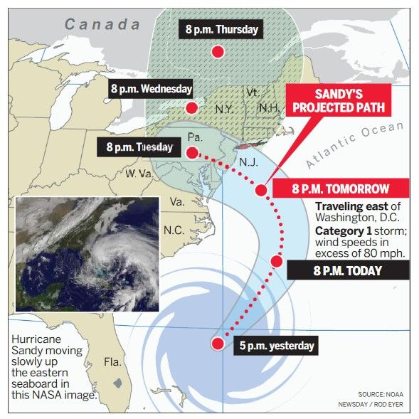 Experts: Hurricane Sandy to become rare hybrid storm