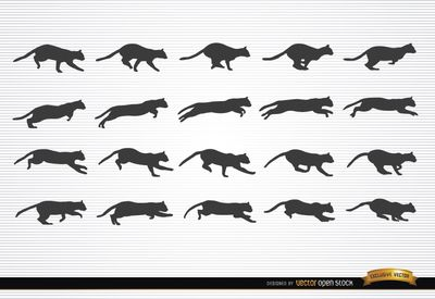 Cat Animal In Motion Silhouettes Free Vector Download Silhouette Free Animal Silhouette Pets Cats