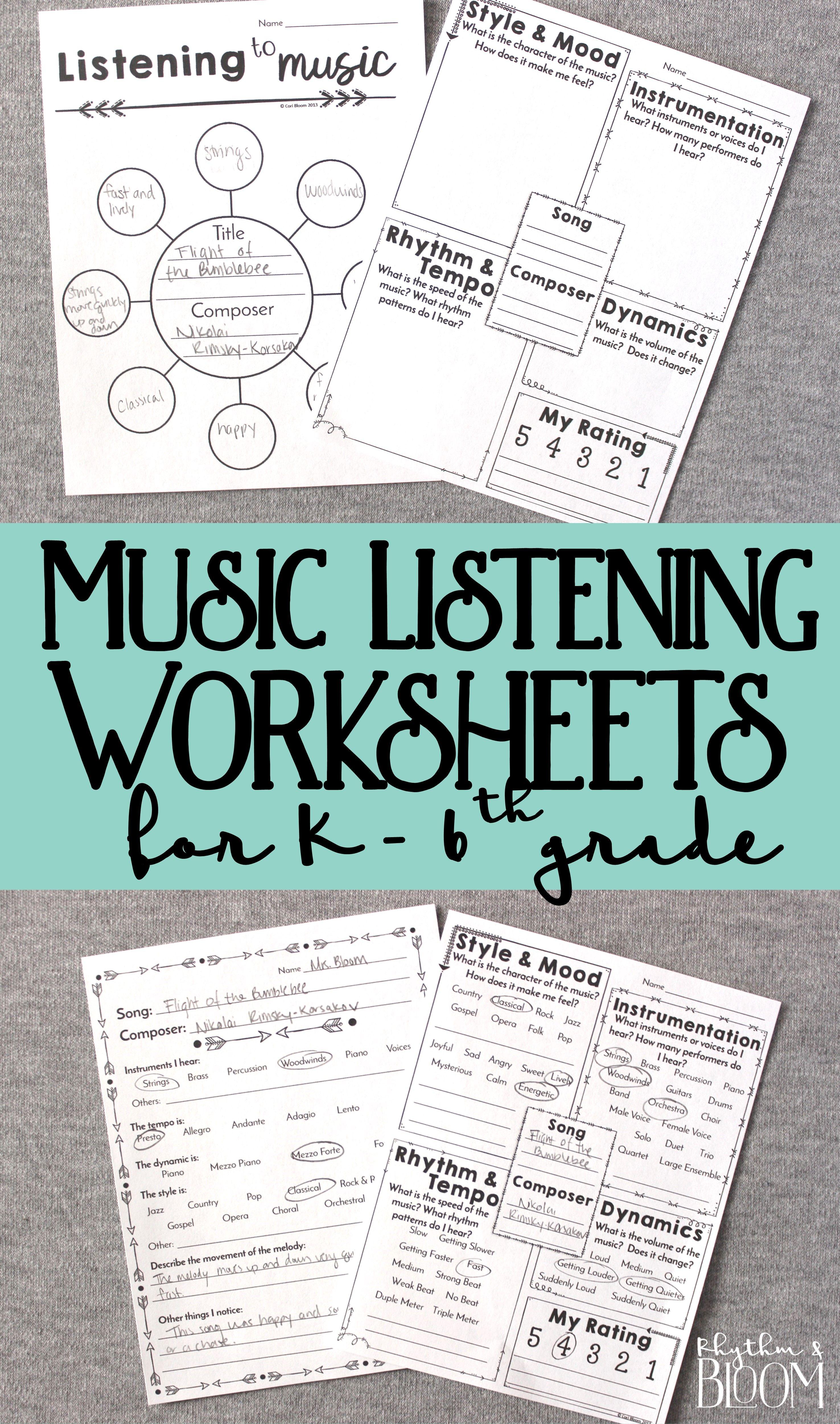 Music Listening Worksheets K 6