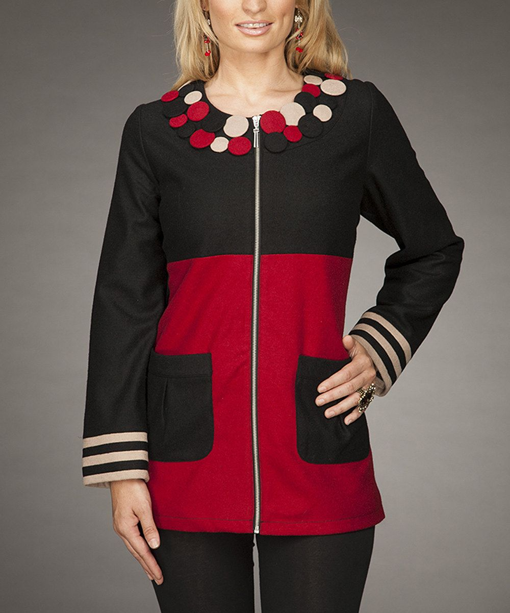 Look at this Firmiana Red & Black Dot Jacket on #zulily today!